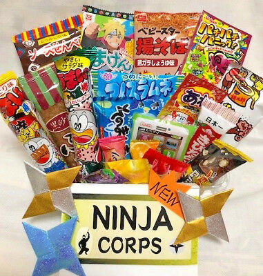 Japanese Sweets Dagashi Set Chocolate Candy Snacks (20 pcs) & Free NINJA STARS