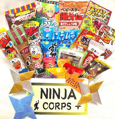 Japanese Candy Dagashi Set Chocolate Snacks (20 pcs) & Free NINJA STARS