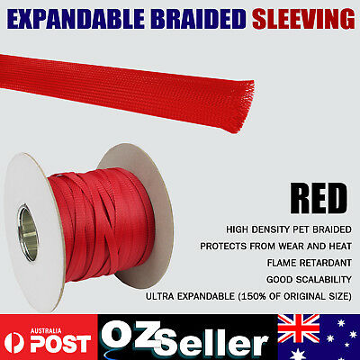 High Density Harness Expandable PET Braided Cable Wire Sleeve Sleeving Cuard Red