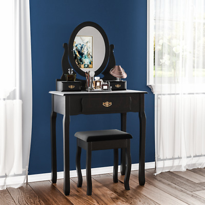 Nishano 3 Drawer Dressing Table Black Bedroom Stool Mirror Makup Desk Dresser