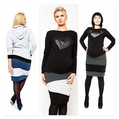 **colours** Pencil Stretchy Maternity Jersey Skirt Contrast Stripe Summer Design