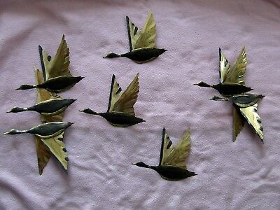 Vintage Set Of 5 Brass Tone Metal Wall Plaques, Flying Geese