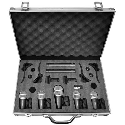 Pyle PDKM7 7 Microphone Wired Drum Kit with Carrying Case & Mounting Accessories