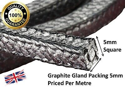 Gland packing / rope/braided 5mm Square x 1m long graphite