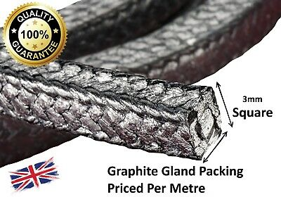 "Gland Packing Rope / Shaft Seal - 3Mm (1/8"") Sq. Sold Per Metre - Graphite Vr3"