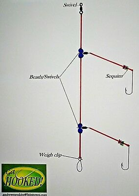 4 X Two hook flapper sea fishing rig, made in sizes 5/0 hook's.
