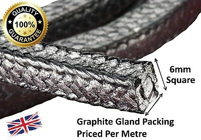 """Gland Packing Rope/Shaft Seal - 6Mm (1/4"""") Sq. Sold Per Metre - Graphite Vr3"""