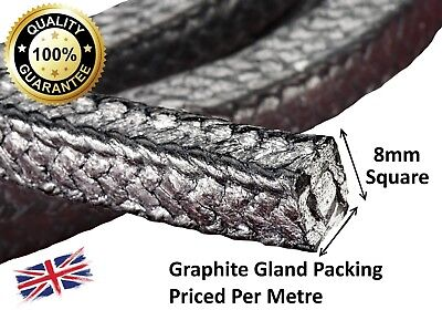 """Gland Packing Rope/Shaft Seal - 8Mm (5/16"""") Sq. Sold Per Metre - Graphite Vr3"""