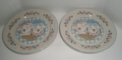 Set of 4 Vintage Tienshan Stoneware Pig Pal 10-1/2\  Dinner Plates & SET OF 6 Vintage Tienshan Stoneware Pig Pal 4 Dinner Plates \u0026 2 ...