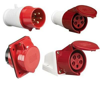 Red 415V 16A Industrial Plug & Sockets 5 Pin IP44 3 Phase x 5 and 10