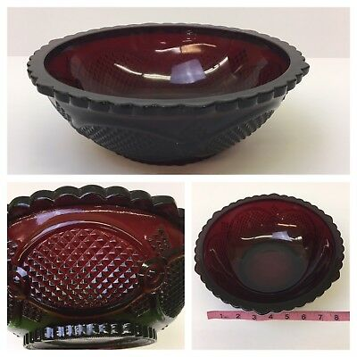 "Vintage Ruby Red Glass Avon Cape Cod 8.5"" Serving or Vegetable Bowl"