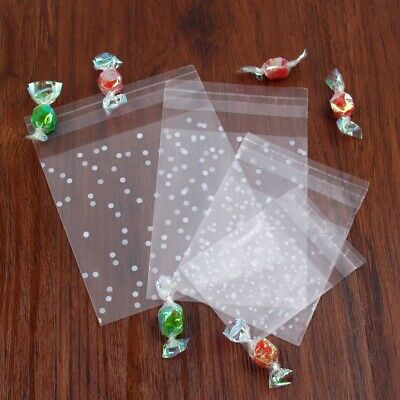 100Pcs Self Adhesive Package Gift Bags Cookie Candy Cellophane Plastic Birthday