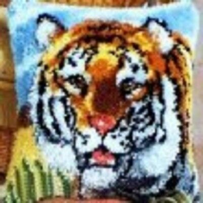 "Latch Hook Complete Cushion Cover Kit""Tiger""43x43cm"