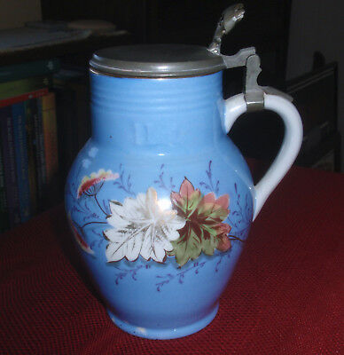 ANTIQUE 1 Liter BLUE Pottery JUG TANKARD STEIN Unknown METAL LID FLOWERS LEAVES