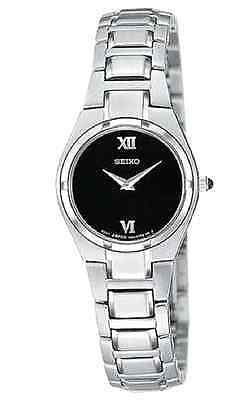 Seiko $250 Womens Silver Stainless Steel Dress Watch Sujd53, Stunning Black Dial