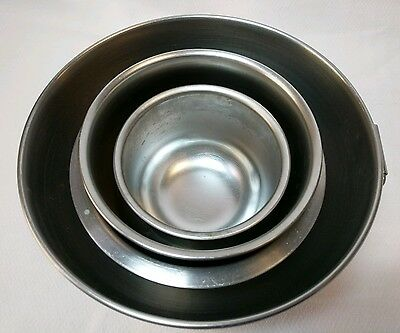 "Lot of 4 Stainless Steel Mixing Bowls No Maker Marks Sizes 7"" Diameter to 3.5"""