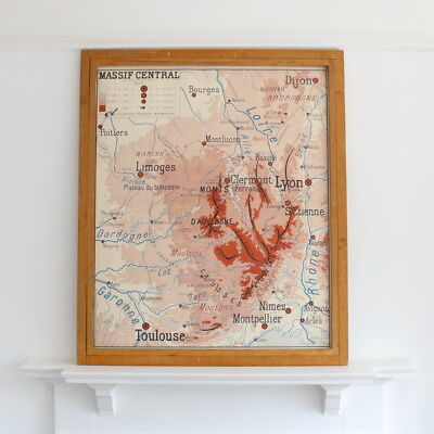 VINTAGE DOUBLE sided French school map - Massif Central and Jura ...