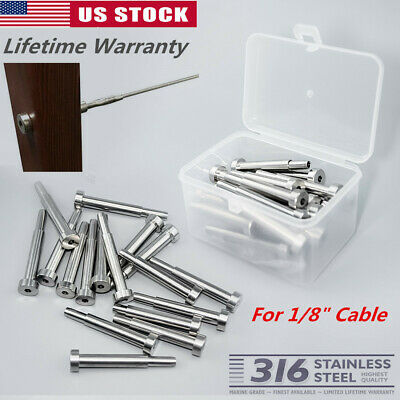 """Stainless Steel Invisible Receiver Stud Swage End Fitting 1/8"""" Cable Railing"""