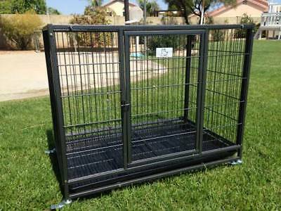 "37""/23""/30"" Heavy Duty Large Dog Crate Kennel Pet Cage House w/ Tray Wheels"