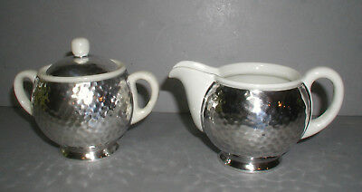 WMF Art Deco German Bauhaus 1930s Hammered Silver Sugar and Creamer