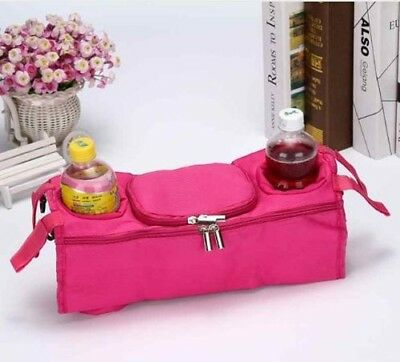 NEW PINK Mountain Buggy Baby Child Stroller Cup Holder Organizer Wipes Diaper