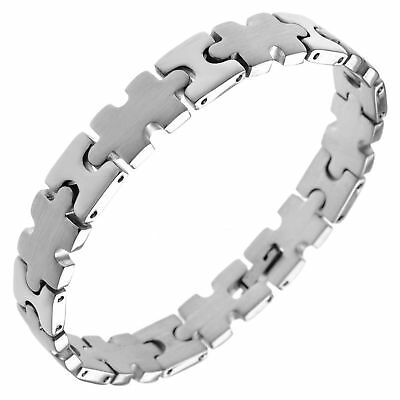"""New Stainless Steel Autism Awareness Puzzle Piece Link Bracelet 8.5"""""""