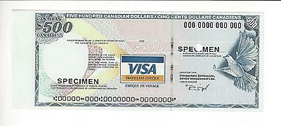 Specimen  Visa  Canada Issue 500 Dollars Canadian  Travelers Check   Unc