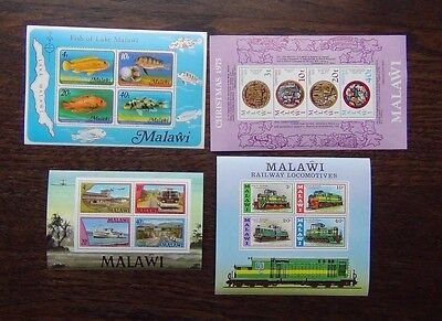 Malawi 1975 Christmas 1976 Trains 1977 Fish Transport Miniature Sheets MNH