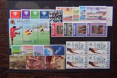 Malawi 1977 1983 sets Raphael Communications IYC Football Birds Airport MNH