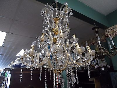 ornate brass and crystal 3 tier chandelier new from closed lighting store  orig