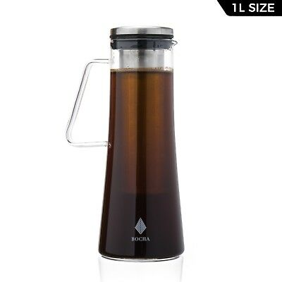 BOCHA Cold Brew Iced Tea / Coffee Carafe SS Infuser 1L Glass Pitcher & Brush
