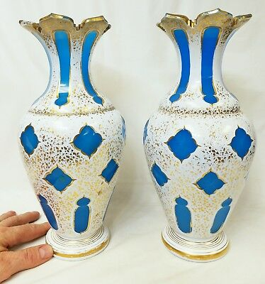 Large Pair of Antique Bohemian Czech Vases Cut to Blue Persian Style