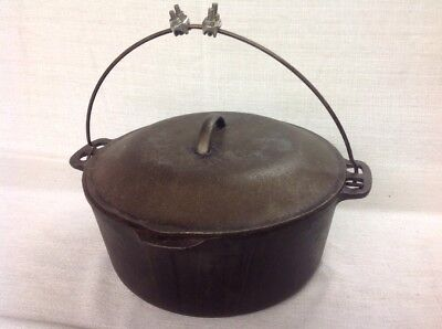 "Vintage Antique Wagner Ware Cast Iron 10"" Large No. 1268D Dutch Oven W/ Lid"
