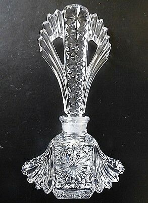 "Vintage Art Deco Fancy Pressed Cut Glass 7""  Perfume Bottle w/ Stopper"