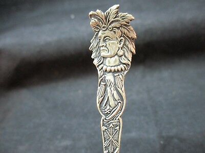 Sterling Silver Indian Souvenir Spoon From Duluth Minnesota Native American