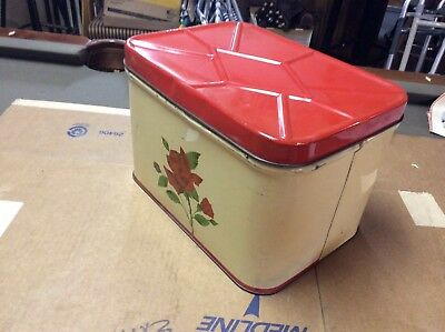 Vintage Metal Tin Bread Box Cottage Style Red Hinged Lid Red Rose