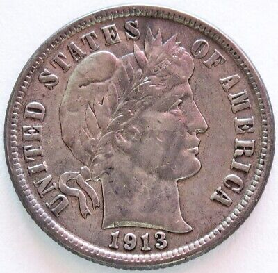 1913 Silver United States Barber Dime Coin Extremely Fine Condition
