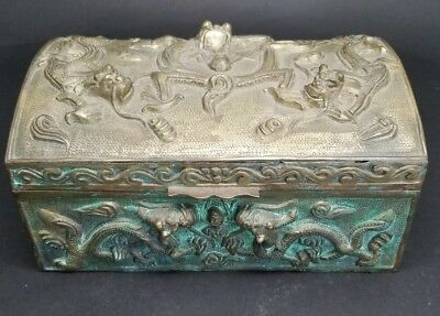 Antique Chinese Brass or Bronze Dragon Tobacco Jewelry Box Humidor Domed