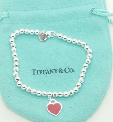TIFFANY & CO. Return to Tiffany Red Heart Tag in Sterling Silver Bracelet