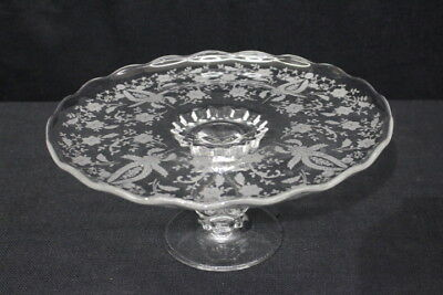 """Vintage Viking Etched Glass PRELUDE Clear 11"""" Footed Pedestal Cake Plate Platter"""