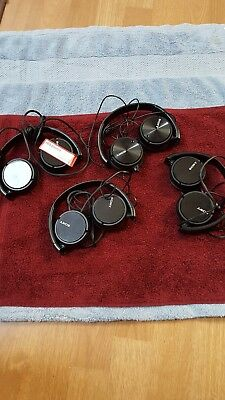 4 Sony MDR-ZX110 Stereo / Monitor Over-Head Headphones Black for parts