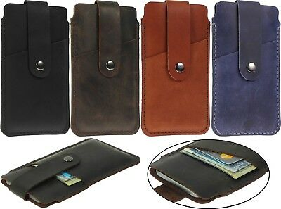 Handcrafted Of Genuine Leather Strap Pouch With Card Pocket Case Cover For Phone
