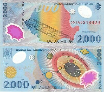 Romania N027a 1999, 2000 Lei UNC polymer note, Total Solar Eclipse banknote