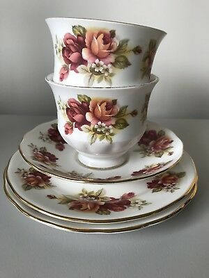 Vintage Queen Anne Bone China Made In England 2 Tea Cup, Saucer & 2 Side Plates
