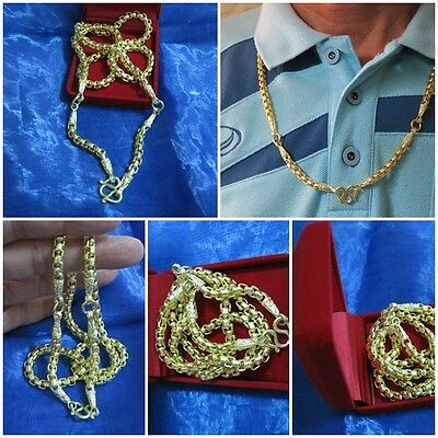 Big Brass Necklace 3 Hooks for 3 Pendants 26 Inches Length & Box Thai Amulet G36