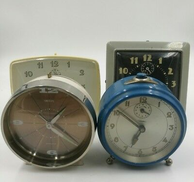 job lot vintage travel alarm clocks spares and repairs