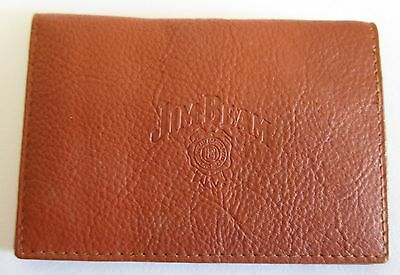 Jim Beam Bourbon brand new tan leather card holder for home bar pub collector