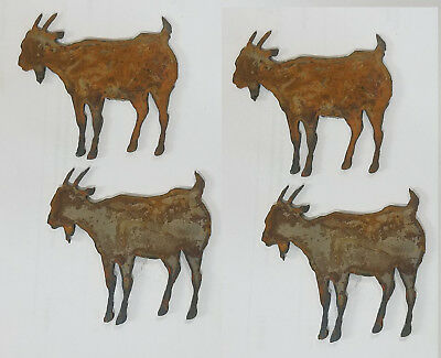 "Lot of 4 Goat Farm Animal Shape 4"" Rusty Metal Vintage Ornament Craft DIY Sign"