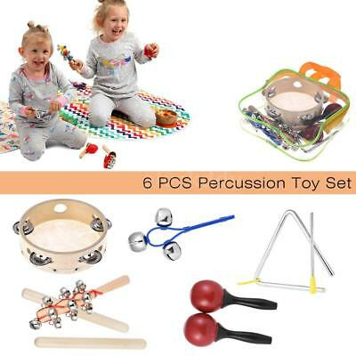6pcs Musical Instruments Percussion Toy Rhythm Band Set Tambourine Triangle Z4J5