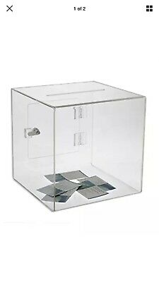Source One Large Premium Clear Acrylic Ballot Box Donation Box Cube (12 inch)